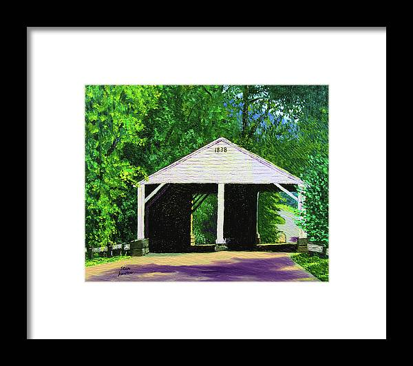 Covered Bridge Framed Print featuring the painting Park Covered Bridge by Stan Hamilton