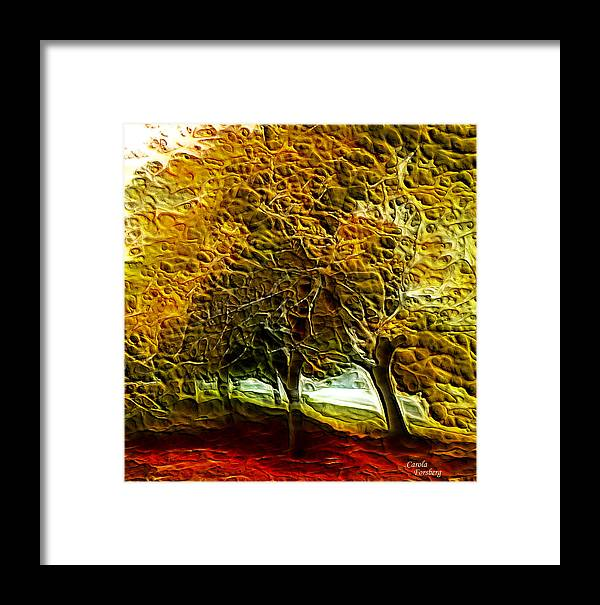 Landcape Framed Print featuring the digital art Park Landscape by Carola Ann-Margret Forsberg