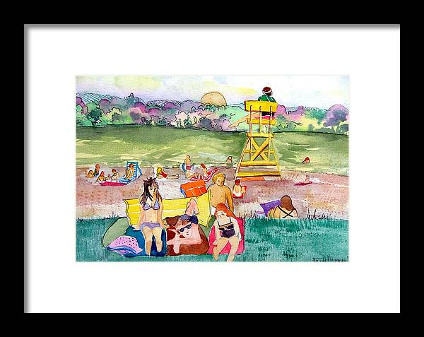 Life Guard Framed Print featuring the painting Park Side Beaches by Mindy Newman