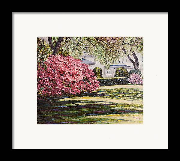 Park Framed Print featuring the painting Park Spring Blossom With Shadows by Richard Nowak