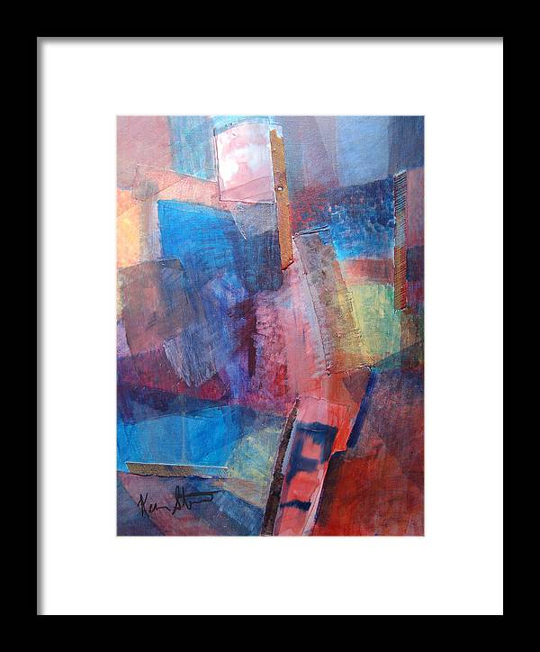 Non-objective Framed Print featuring the painting Park Square At Night by Kevin Stevens