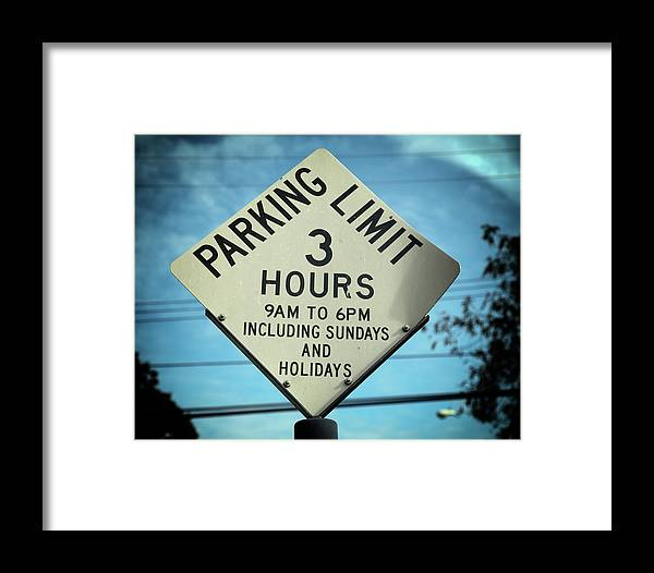 Street Sign Framed Print featuring the photograph Parking Limits by Michael Riley