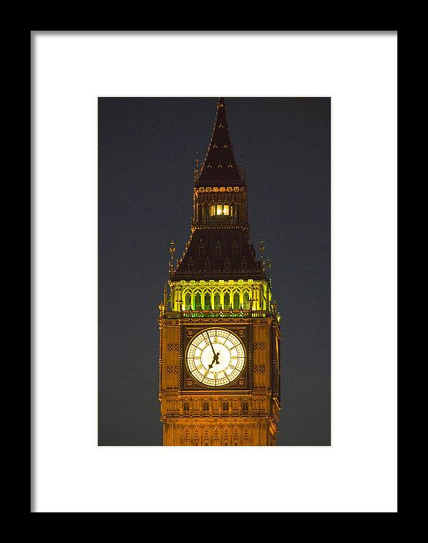 Parlkiament Framed Print featuring the photograph Parliament Tower At Night by Charles Ridgway
