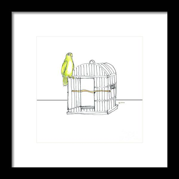 Illustration Framed Print featuring the drawing Parrot And Cage by Fran Henig