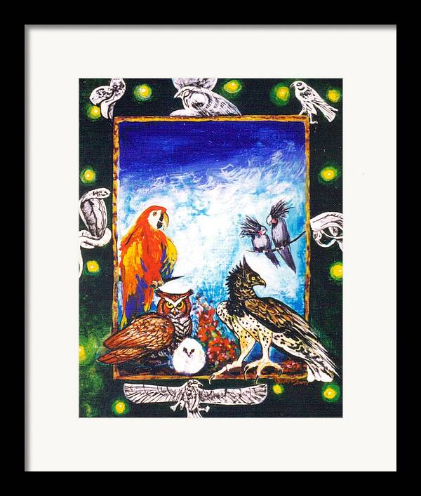Framed Print featuring the painting Parrot And Eagle by Christine McGinnis