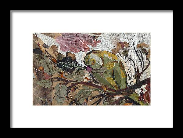 Colorful Green Bird Framed Print featuring the mixed media Parrot by Basant Soni