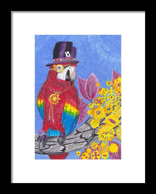Animals Framed Print featuring the mixed media Parrot In Gear Tree by Candice Davis