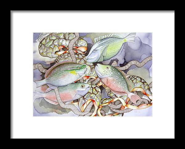 Sea Framed Print featuring the painting Parrot Play by Liduine Bekman
