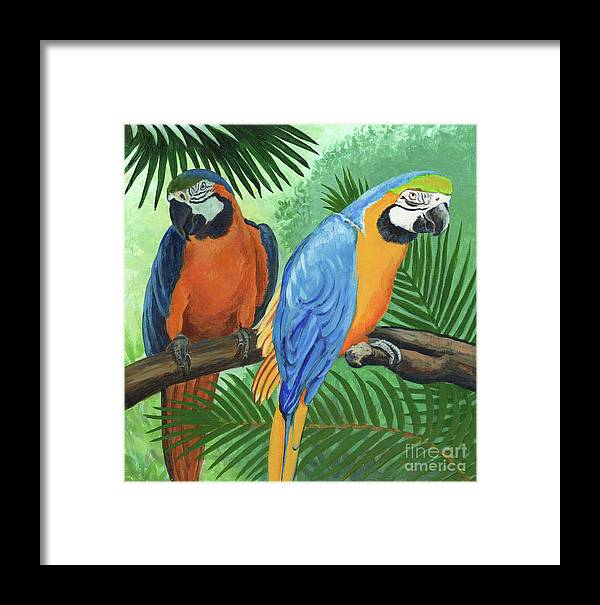 Parrot Framed Print featuring the painting Parrots In Light And Shade by Arlene Kelley