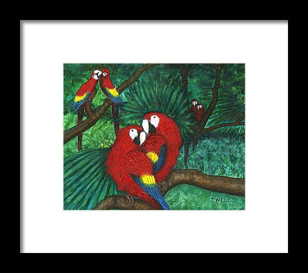 Parrots Framed Print featuring the painting Parrots Preening by Tanna Lee M Wells