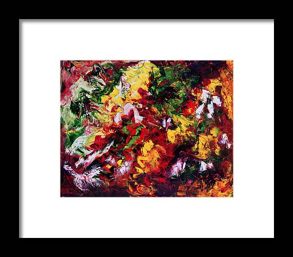 Abstract Framed Print featuring the painting Parterre De Fleurs by Dominique Boutaud