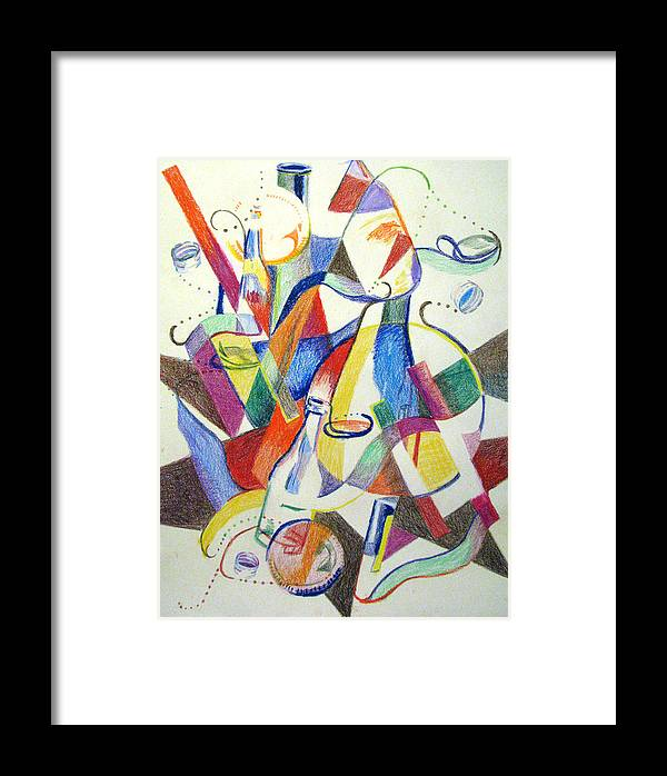 Cubism Framed Print featuring the painting Party Bottles by Art Nomad Sandra Hansen