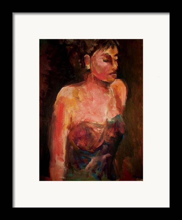 Colorful Impressionistic Figurative Framed Print featuring the painting Party Girl by Renee Rowe
