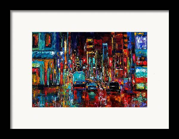 Cityscape Framed Print featuring the painting Party Of Lights by Debra Hurd