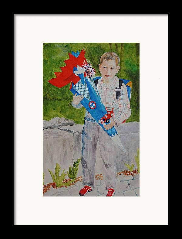 School Framed Print featuring the painting Pascals First Day At School 2004 by Helmut Rottler