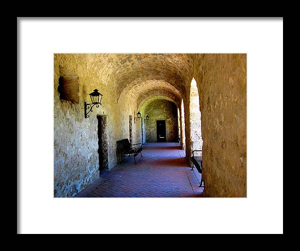Mission Framed Print featuring the photograph Pasillo by Diana Moya
