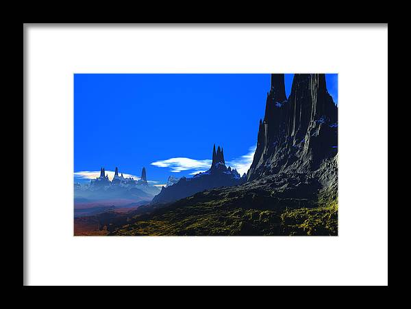 David Jackson Pass Of Gormok Alien Landscape Planets Scifi Framed Print featuring the digital art Pass Of Gormok by David Jackson