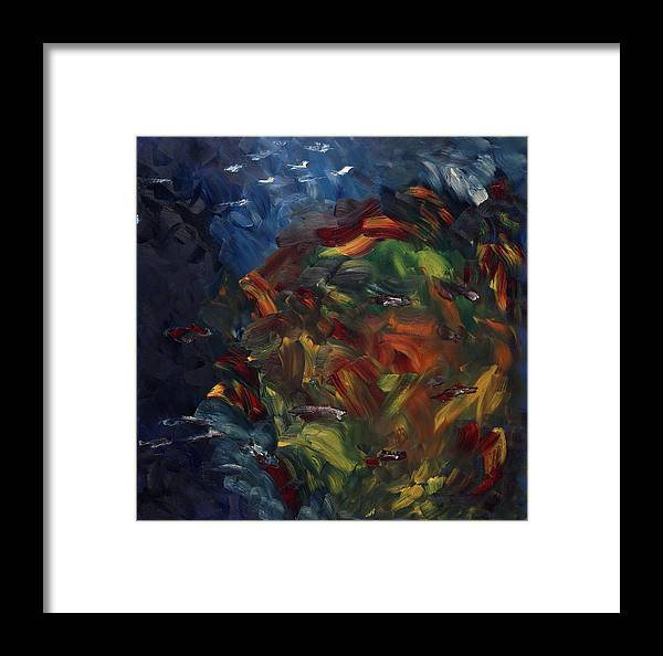 Abstract Framed Print featuring the painting Passer Au Dessus by Dominique Boutaud