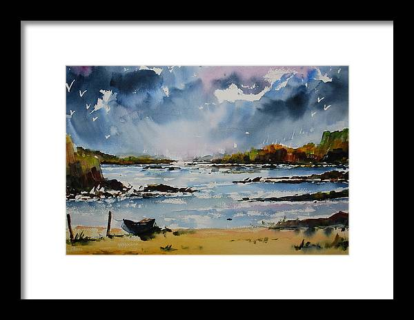 Framed Print featuring the painting Passing Storm At Lahinch by Wilfred McOstrich