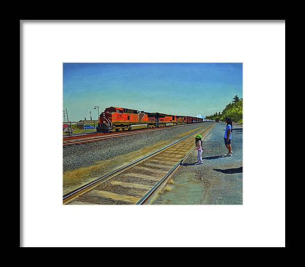 Train Framed Print featuring the painting Passing Train by Thu Nguyen