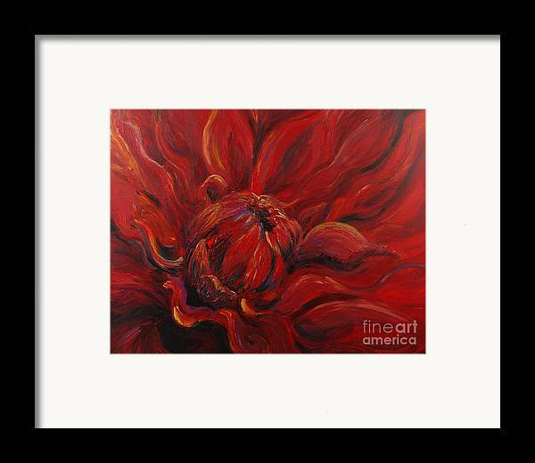 Red Framed Print featuring the painting Passion II by Nadine Rippelmeyer