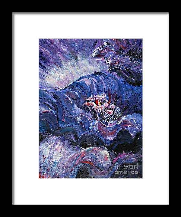 Blue Framed Print featuring the painting Passion in Blue by Nadine Rippelmeyer