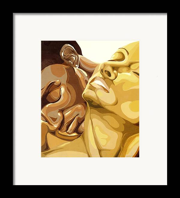Figures Framed Print featuring the painting Passion by Lamark Crosby