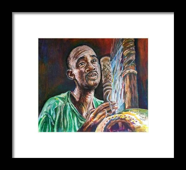 Kora Player Framed Print featuring the painting Passion by Richmond Garrick