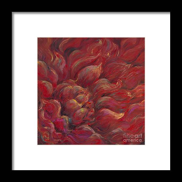 Red Framed Print featuring the painting Passion V by Nadine Rippelmeyer