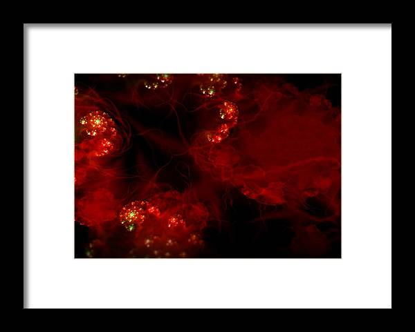 Passion Red Explosion Expression Blood Heart Framed Print featuring the digital art Passional by Veronica Jackson
