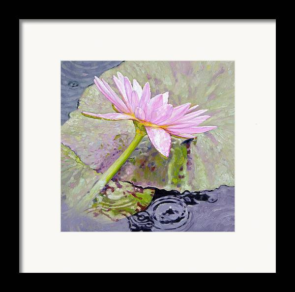 Water Lily Framed Print featuring the painting Pastel Beauty by John Lautermilch