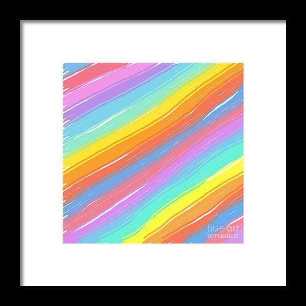 Unique Framed Print featuring the digital art Pastel Diagonals by Susan Stevenson
