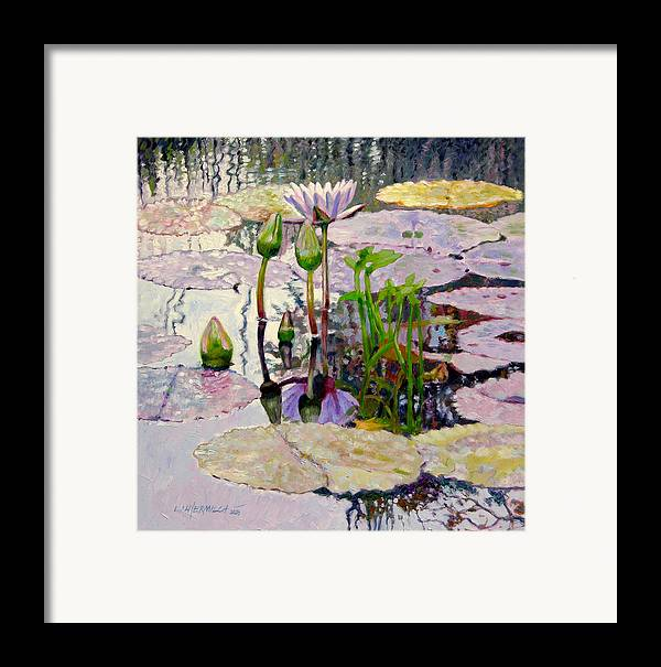 Water Lily Pond Framed Print featuring the painting Pastel Light by John Lautermilch