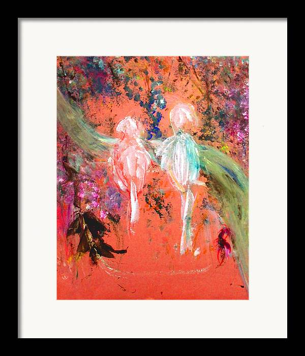 Abstract Framed Print featuring the painting Pastel Parrots In Abstraction by Michela Akers