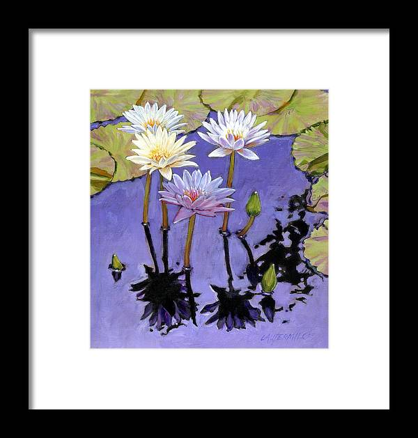 Water Lilies Framed Print featuring the painting Pastel Petals by John Lautermilch