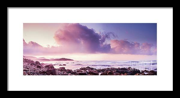 Purple Framed Print featuring the photograph Pastel Purple Seashore by Jorgo Photography - Wall Art Gallery