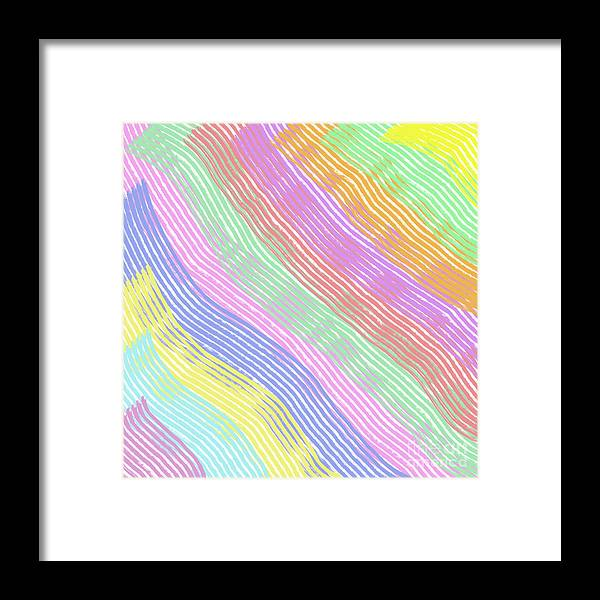 Unique Framed Print featuring the digital art Pastel Stripes Angled by Susan Stevenson