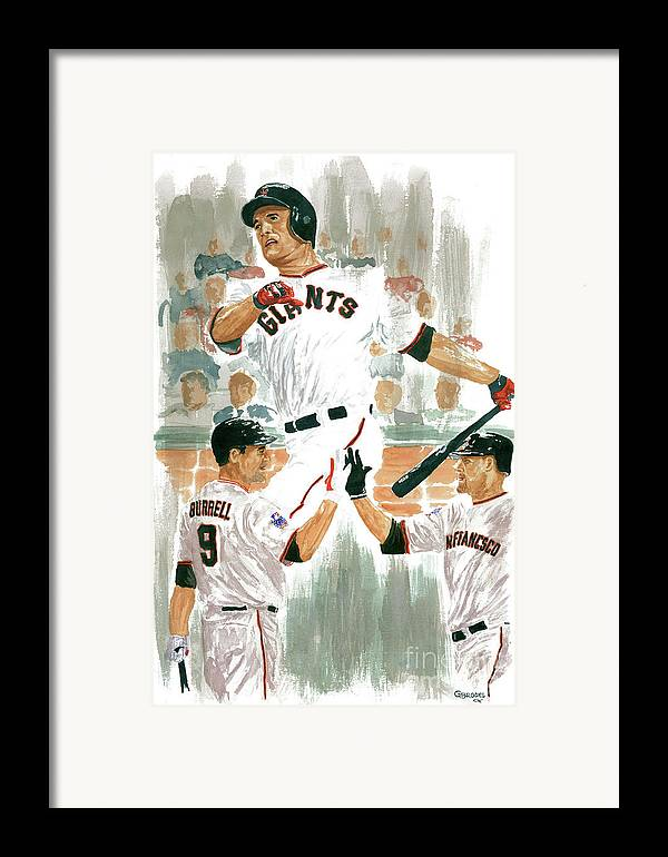 Pat Burrell Framed Print featuring the painting Pat Burrell Study 2 by George Brooks