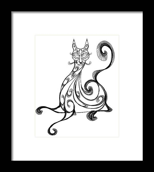 Cat Framed Print featuring the digital art Pat Cat by Ellsbeth Page