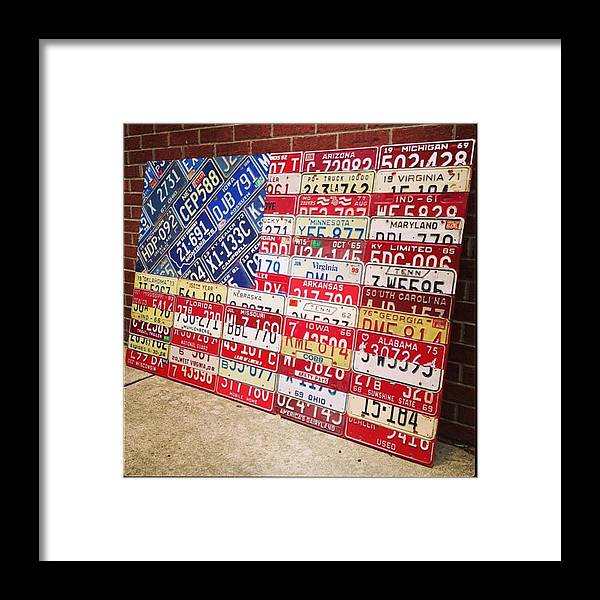 Steel Framed Print featuring the photograph Patchwork #american #flag Finished - by Design Turnpike