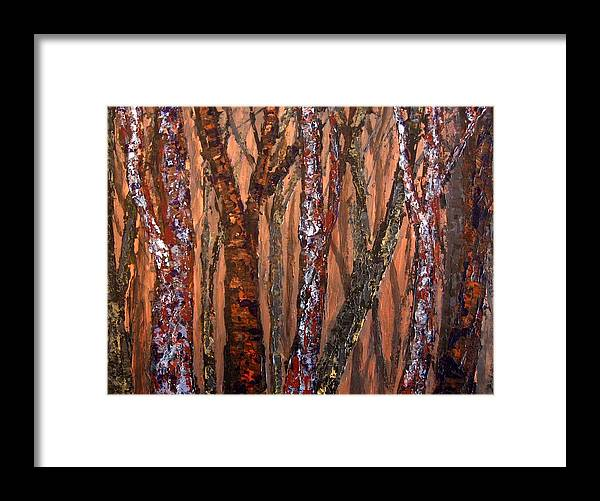 Forest Framed Print featuring the painting Patchwork Forest by Wanda Pepin