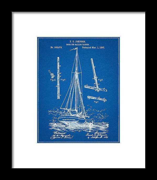 Patent 1887 sailing yacht boom for yacht blueprint framed print yacht patent boat tall ship sailing vessel nautical wall art mayflower malvernweather