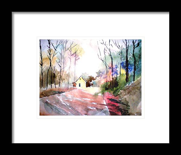 Nature Framed Print featuring the painting Path In Colors by Anil Nene