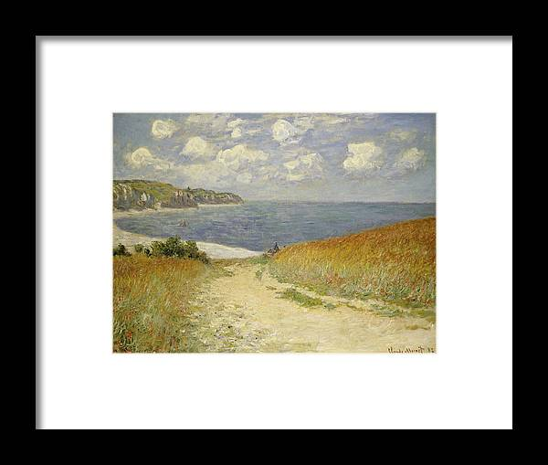 Path In The Wheat At Pourville Framed Print featuring the painting Path In The Wheat At Pourville by Claude Monet