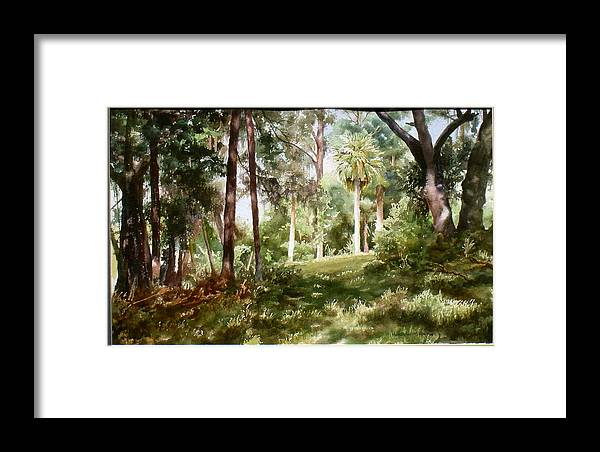 Nature Framed Print featuring the painting Path In The Woods by Marion Hylton