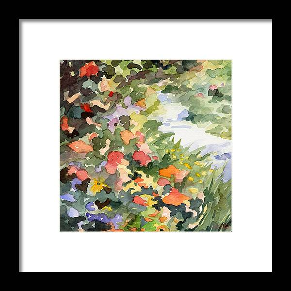 Garden Framed Print featuring the painting Path Monets Garden Watercolor Paintings of France by Beverly Brown Prints