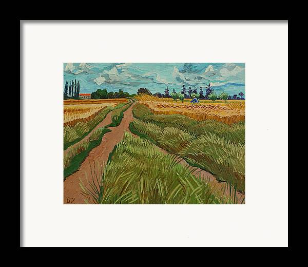 Landscape Framed Print featuring the painting Path Through A Wheat Fields by Vitali Komarov