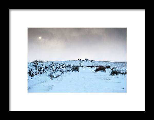 Snow Framed Print featuring the photograph Path To South Hessary Tor II by Helen Northcott