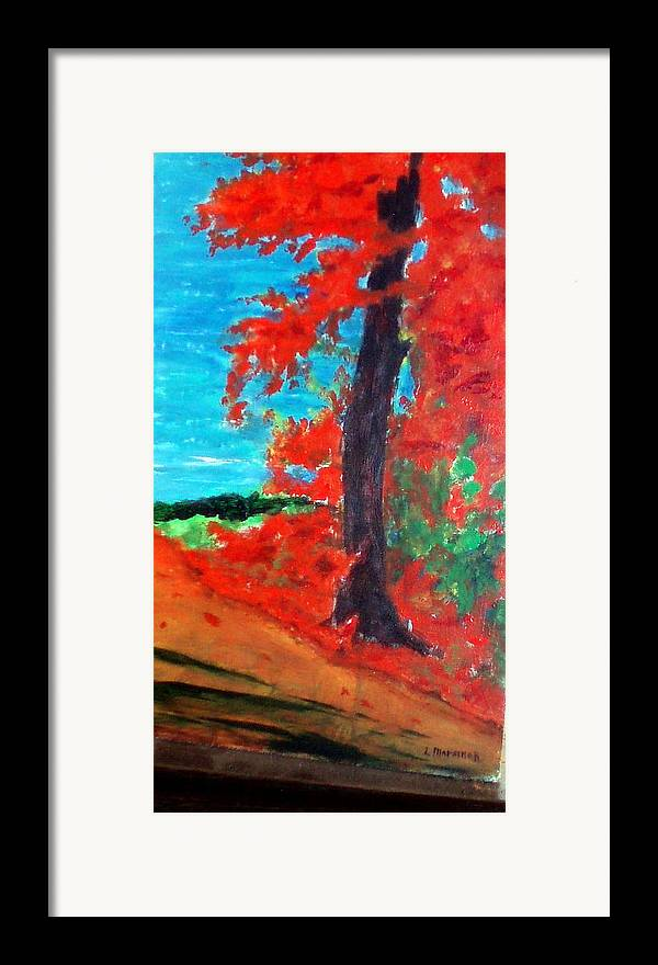 Fall Framed Print featuring the painting Path To The Lake by Lia Marsman