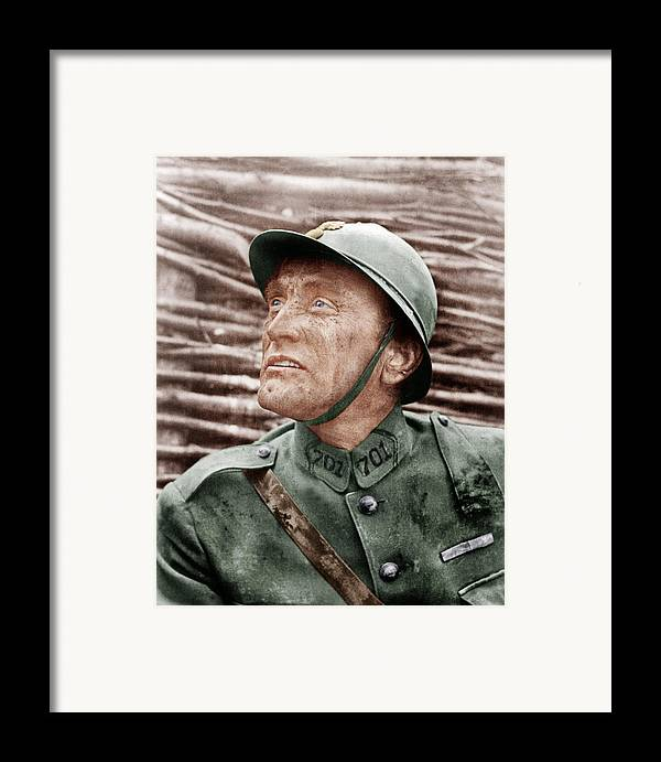 1950s Portraits Framed Print featuring the photograph Paths Of Glory, Kirk Douglas, 1957 by Everett
